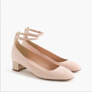 J. Crew Pink Suede Contrast Glitter Heel 6
